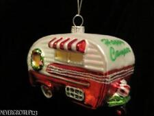 CLASSIC~HAPPY CAMPER~CAMPING~VACATION~TRAVEL TRAILER ORNAMENT~BLOWN GLASS~NWT