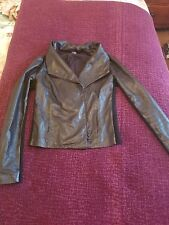 Vince Scuba  Black Leather Double Zip Motorcycle Jacket Size Extra Small