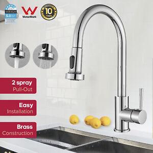 Brass Kitchen Tap Mixer Pull Out Basin Taps Faucet Swivel Spout Chrome 2-Mode
