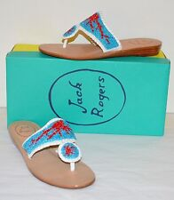 New $198 Jack Rogers Oceania Turquoise/White Wedge Thong Sandal Rare sz 6 Beads