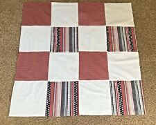 "Patriotic Red White Blue Unfinished Cotton Material Quilt Top 38-1/2"" x 39"""