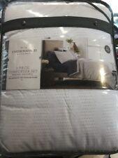 Threshold 3 Piece Comforter Set White/Khaki Queen/Full Bedding Set & Shams NEW