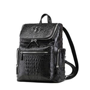 Men's Genuine Crocodile Skin Backpack, Casual Travel Bag Extra Capacity Casual