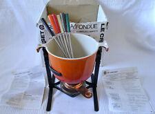 Le Creuset Vintage Fondue Set - Volcanic Orange Cast Iron Pot + Stand + 6 Forks