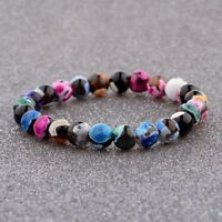 8MM Candy Color Beaded Cuff Charm Bangle Fashion Natural Stone Bracelets