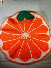 "Crochet Orange Slice Place Mat 17"" Cotton Blend Free Shipping"