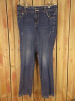 Lane Bryant Jeans Simply Straight Distressed Stretch Women's Blue Size 16