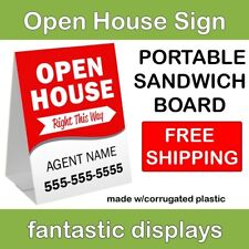 "Portable Open House Sign 18"" x 24"" Corrugated Plastic A-Frame Sandwich Board Red"