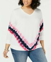 INC International Concepts Plus Size V-Neck Tie-Dye Sweatshirt (1837)
