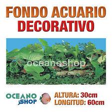 FONDO 60x30cm ACUARIO DECORATIVO VINILO TRONCO Y PLANTAS CALIDAD D437