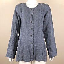 FLAX Jeanne Engelhart Pants Suit Lagenlook 100% Linen Blue Small 6 8