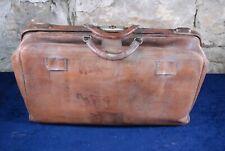 Vintage Antique Large Leather Doctors Gladstone Bag midwife medical
