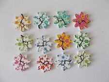 20 NEW WOOD SEWING BUTTONS FLOWER  SHAPED MIXED RANDOM CRAFTS/SCRAP BOOKING