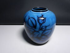 "Art Pottery Japan Vase  Black Rose Under Glaze Cobalt 5 1/4"" T OL"