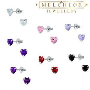 4mm Sterling Silver Cubic Zirconia HEART Stud Earrings 925 Gift Boxed