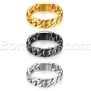 20mm Wide Men's Stainless Steel Heavy Large Cuban Curb Chain Bracelet Link 22cm