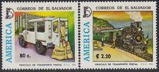 Upaep El Salvador 1217/18 1994 Camión Postal tren train a vapor MNH