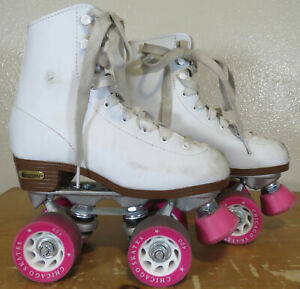 Chicago Ladies Girls Youth Size 3 Classic White Quad Roller Skates