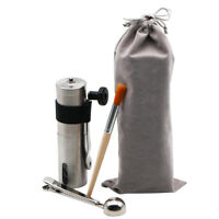 Manual Coffee Grinder, Conical Burr Mill, Brushed Stainless Steel, Travel Set
