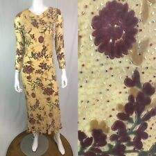 Vintage Mon Cheri Evening 4 Yellow Silk Chiffon Floral Velvet Beaded Maxi Dress