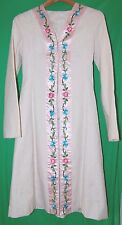 H&M Womens Couture Trench Coat White Embroidered Floral Jacket S Aqua Blue Pink