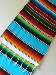 Table runner STRIPE - TURQUOISE - LONG fringed tapestry Mexico Guatemala