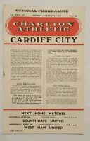 Charlton Athletic v Cardiff City Programme 30/03/59