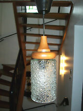 ANCIEN SUSPENSION LAMPE GLOBE VERRE Bulle Bois DESIGN 50 60 Scandinave