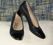 Salvatore Ferragamo Navy Blue Pebbled Suede Patent Leather Toe Cap Pumps Sz 7 B
