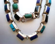 Taxco Mexico Sterling Silver 925 Multi Gem Lapis Turquoise Necklace 99.3 grams
