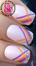 NAIL ART WRAP WATER TRANSFERS DECALS STICKERS SET GLITTER STRIPE FRENCH TIPS #95