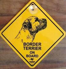 12cm Roadsign Schild mit Saugnapf BORDER TERRIER Warnschild Hund
