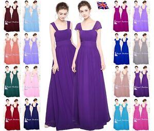 Chiffon scoop neck floor length Bridesmaid/party dress size 8-24