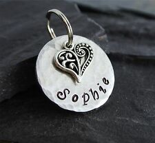 Dog ID tag Pet Personalized Stamped Rustic Metal Aluminum Scroll Heart 1 inch