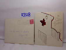 VINTAGE CHRISTMAS CARD+ENVELOPE 1950'S WHITE FRONT DOOR & STEPS WREATH-RED