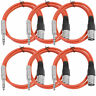 """Seismic Audio SEISMIC 6 PACK Red 1/4"""" TRS to XLR Male 2' Patch Cables"""