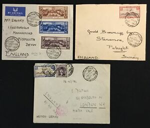 EGYPT 1935/39 -3 x AIRMAIL COVER -( SIMON ARZT)-TO ENGLAND -1 FLAP MISSING-F/VF