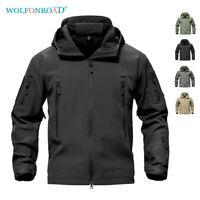 Mens Jackets Military Softshell Fleece Lining Outwear Army Jackets Hoodie Coats