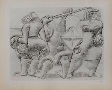 LE CORBUSIER : Trois personnages en voyage - GRAVURE signée - 1938