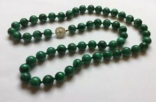 Sterling SIlver Uniform 11mm Malachite Hand Knotted Round Beads Necklace 114g