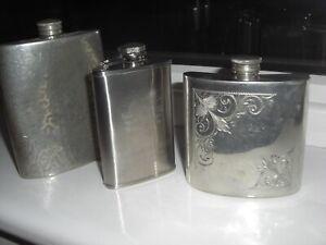 3 x Vintage & Modern Hip Flasks English Pewter Hammered. Glenmorangie/Sheffield