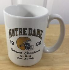 Notre Dame 1988 National Championship Coffee Mug Coach Lou Holtz Original