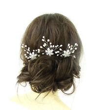 3 Blanco Plateada Flor Perlas Pelo Horquilla Enredadera Boda Pedrería