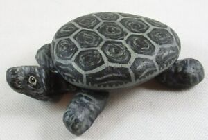 """Handcrafted Rock Stone Turtle Figurine, Signed, About 4"""" Long"""