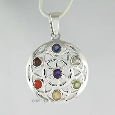 Chakra Anhänger - 925 Sterling Silber Medaillon Amulett Energie Esotherik  Ch12