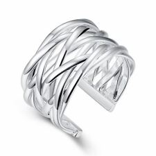 925 Silver Plt Adjustable Wide Lattice Ring Thumb Woven Intertwined Mesh D