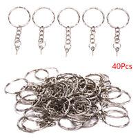 40Pcs Polished Key ring Screw Eye Short Chain Split Ring Connector DIY Jewel PH