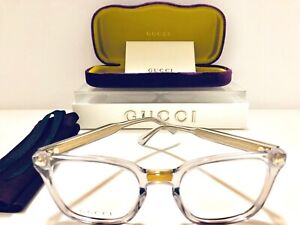Gucci Eyeglasses GG184O 005 Women's Transparent w/ Gold Frame New Authentic 50mm