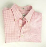 PETER MILLAR Mens Shirt Size Large L Long Sleeve Button Down Pink Plaid Dress