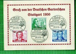 BERLIN - Michel 61/63 auf Karte mit Sonderstempel Gartenschau Stuttgart  (B873)